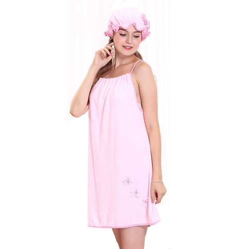 Honana BX-R980 Absorbs Bath Cozy Microfiber Women Skirt Bath Towel BathRobe with Bath Cap