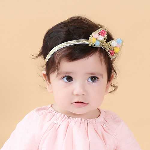 Cute Bowknot Net Surface Colorful Balls Inside Hair Band Sweet Kid's Hair Accessories