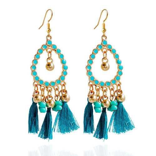 Bohemian Alloy Beads Drop Tassel Women Earrings