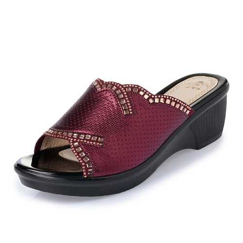 Slip On Wedge Sandals Casual Outdoor Beach Soft Sloe Slipper