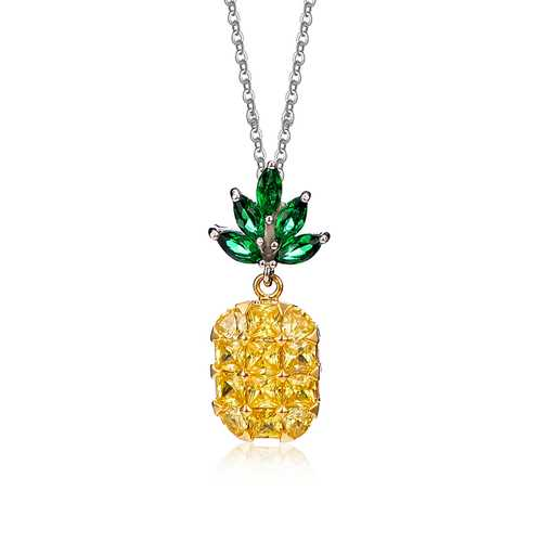 Fashion Shiny Yellow and Pink Zircon Pineapple Pendant Cute Necklace Jewelry for Women