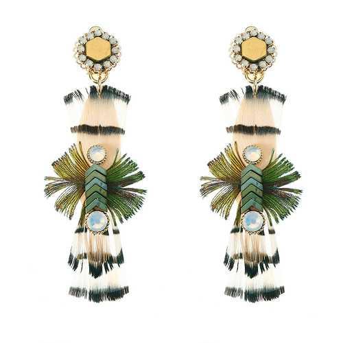 Bohemian Earrings 14K Gold Plated Luxury Opal Feather Natural Stone Ear Clip Ethnic Women Jewelry