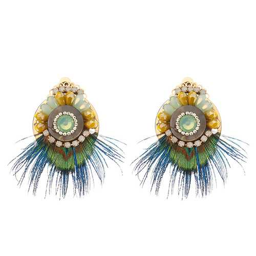 Bohemian Ethnic Earrings 14K Gold Plated Feather Opal Statement Retro Round Ear Clip for Women Gift