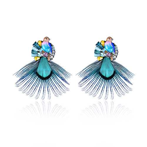 Bohemian Ethnic Style Feather Earrings 14K Gold Plated Bird Charm Gemstone Eardrop Gift for Women