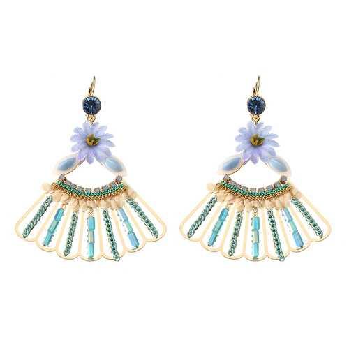 Bohemian 14K Gold Plated Peacock Tail Shape Flower Ear Drop Elegant Blue Opal Earrings for Women