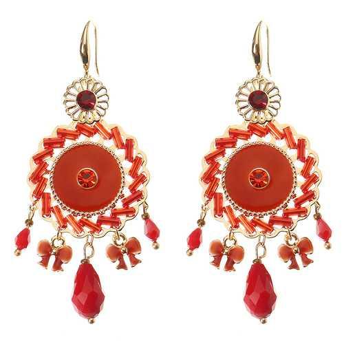 Bohemian Retro 14K Gold Plated Earrings Ethnic Sun Shape Bowknot Red Zircon Ear Drop for Women