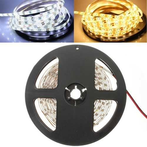 5M 24W 300LEDs SMD 3528 Pure White Warm White Flexible LED Strip Light Waterproof DC12V