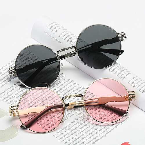 Women UV400 Protection Sunglasses Causal Vintage Steam Punk Round Eyeglasses