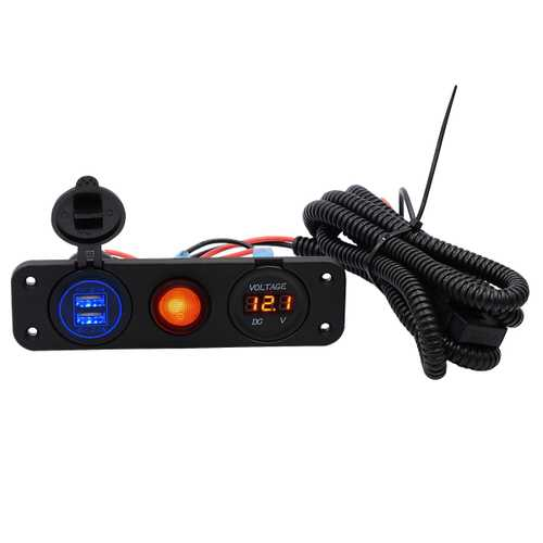 5V 4.2A LED Dual Usb Charger Volt Meterr Waterproof Switch Panel Marine Car Boat Motorcycle