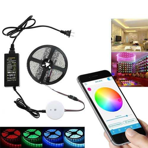 5M 60W SMD5050 Non-waterproof bluetooth APP Control RGB LED Strip Light Kit + 12V 5A Power Adapter