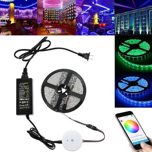 5M 60W SMD5050 Waterproof bluetooth APP Control RGB LED Flexible Strip Light Kit DC12V