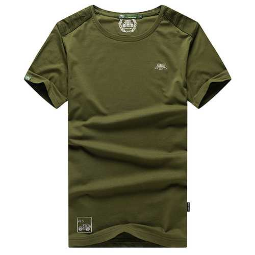 Men's Breathable Cotton Round Collar T-shirt Casual Short Sleeved Tops Tees