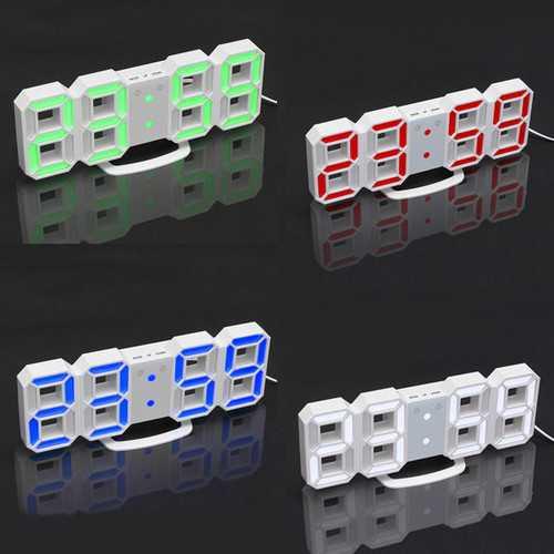 24/12 Hour 3D LED Electronic Table Desk Quartz Wall Clock With Alarm Digital Display Plasitc