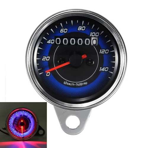 12V Dual LED Backlight Motorcycle Odometer KMH Speedometer Gauge Universal