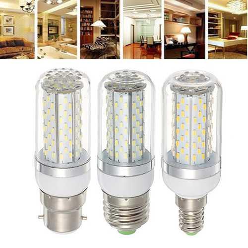 E27 E14 B22 5W SMD3014 120LEDs 360 degree Warm White Pure White Corn Light Bulb AC85-265V