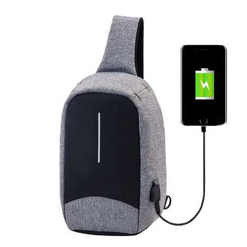 """Men External USB Charging Function Sling Bag Water Repellent Anti Theft Crossboby Bag for 9.7"""" Ipad"""