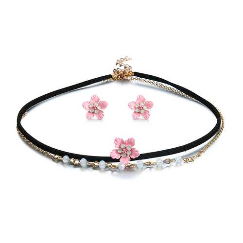 Sweet Pink Flower Charm Earrings Double Layer Gold Chain Black Choker Necklace Women Jewelry Set