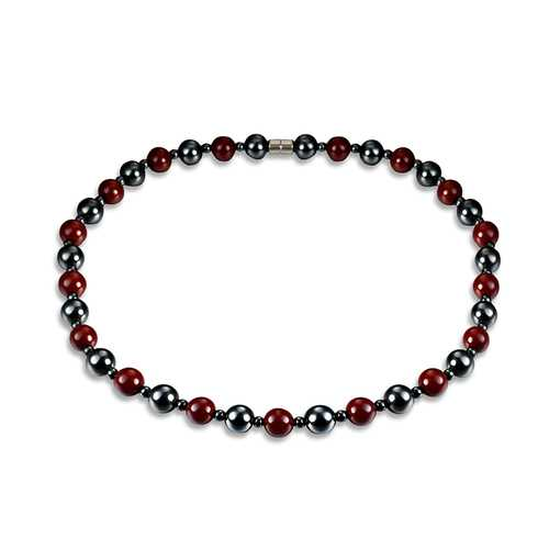 Healthy Healing Jewelry Black and Red Beads Magnet Stone Beaded Necklace Unisex