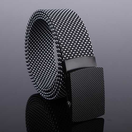 120CM Mens Casual Nylon Dots Smooth Buckle Waist Belt