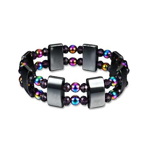Multi-color Double Layer Beaded Crystal Bracelet Magnetic Health Bracelet for Men Women
