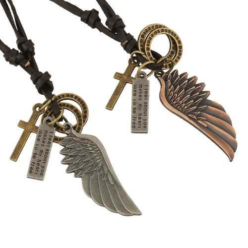 Angel's Wing Pendant Chain Punk Style Leather Necklace for Men Women