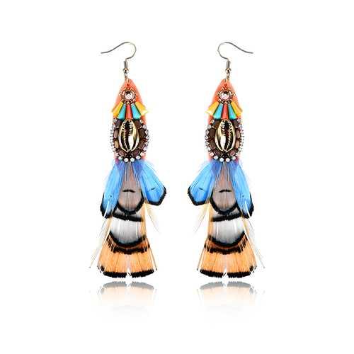 Bohemian 14K Gold Plated Retro Ethnic Feather Pendant Shell Shiny Zircon Earrings for Women