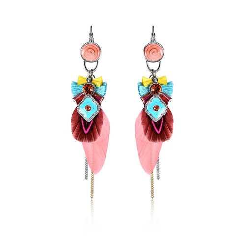 Bohemian Retro 14K Gold Plated Earrings Luxury Platinum Tassel Pendant Feather Ear Drop for Women