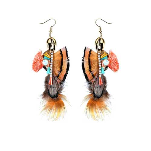 Bohemian Vintage Ear Drop Ethnic Colorful 24K Gold Plated Opal Feather Shell Earrings for Women