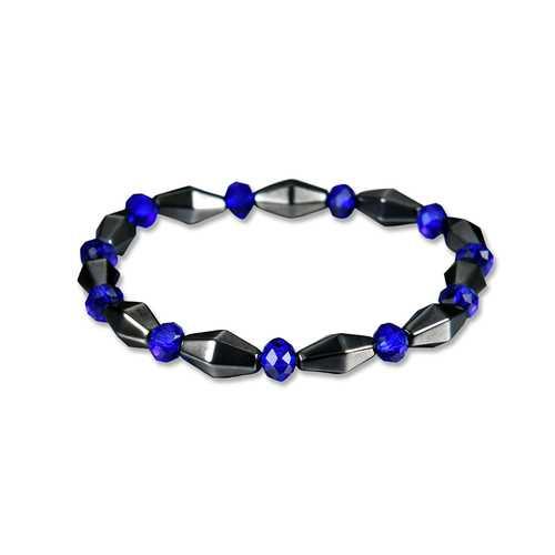 Good Luck Blue Crystal Healing Magnet Stone Chain Beaded Bracelet for Men Women