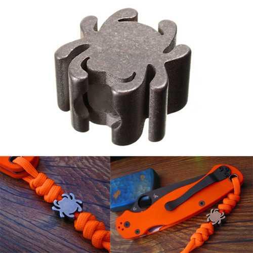 IPRee™ EDC Titanium Alloy 5mm Hole Beads Spider Shape Pendant Parachute Cord Knife Tool Lanyard