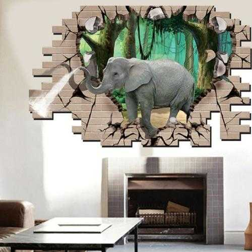3D Elephant Forest Living Room Bedroom Animals Floor Home Background Wall Decor Creative Stickers