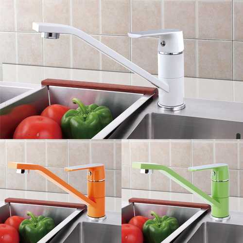 Fashion Style Multi-color Kitchen Faucet Cold and Hot Water Taps White Orange Green 360 Rotation