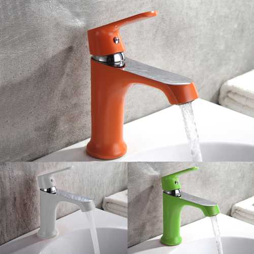 Household Multi-color Bath Kitchen Basin Faucet Cold and Hot Water Taps Green Orange White