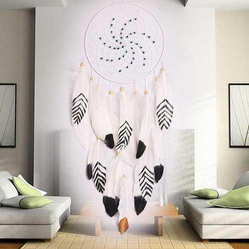 Dreamer White Retro Handmade Indian Dream Catcher Tribal Wall Hanging Decor Ornaments