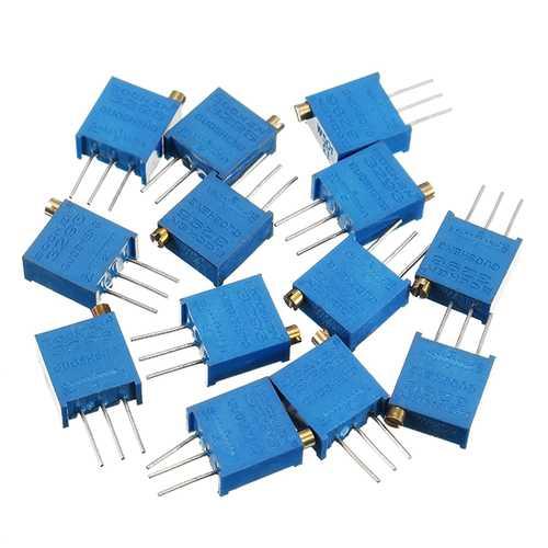 100R-1M 13pcs 13 Values 3296 Potentiometer Pack Adjustable Resistance Pack Component Pack 1pc Each Value
