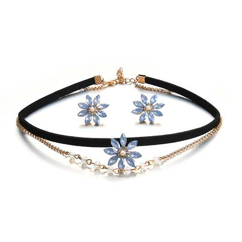 Elegant Gift for Women Blue Rhinestone Pearl Flower Double Layer Choker Necklace Snowflake Earrings
