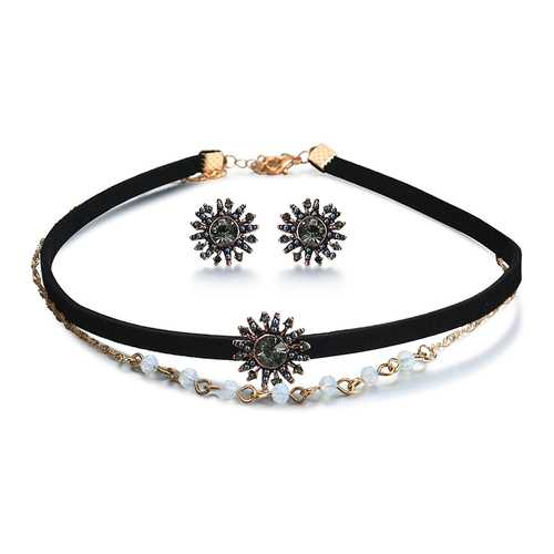 Punk Women Jewelry Set Double Layer Gold Chain Choker Piercing Black Rhinestone Sun Shape Earrings