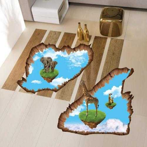 3D Elephant Giraffe Walking Living Room Bedroom Animals Floor Background Wall Decor Creative Stickers
