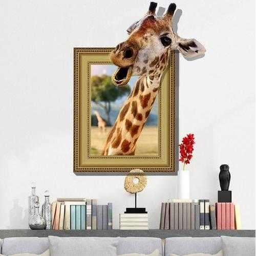 3D Giraffe Living Room Bedroom Animals Floor Home Background Wall Decor Creative Stickers