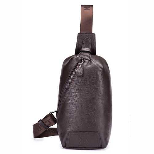 Bullcaptain® Men Genuine Leather Brown Sling Bag Casual Crossbody Daypack Chest Bag for Ipad