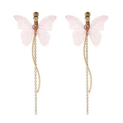 Sweet Pink Butterfly Arc Line Tassel Pendant Ear Clip Drop Earrings Fashion Jewelry for Women