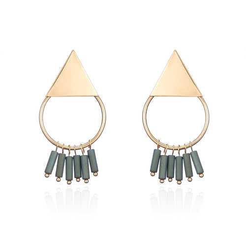 18K Gold Plated Simple Geometric Green Tassel Pendant Ear Stud Fashion Earrings for Women
