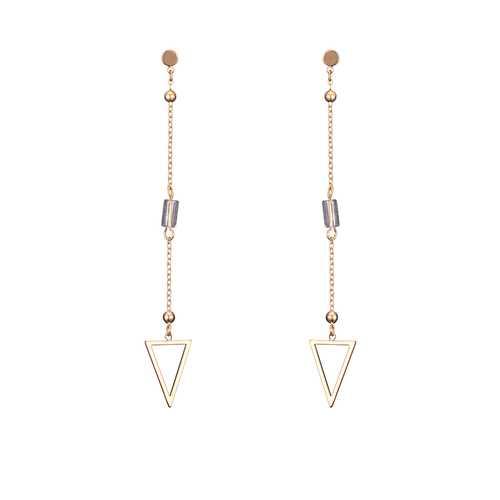 18K Gold Plated Elegant Rhinestone Hollow Triangle Pendant Piercing Earrings Best Gift for Women