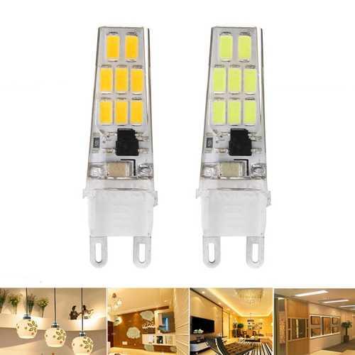 10X G9 3W SMD5733 12LEDs Warm White Pure White Silicone Crystal Light Bulb AC220V