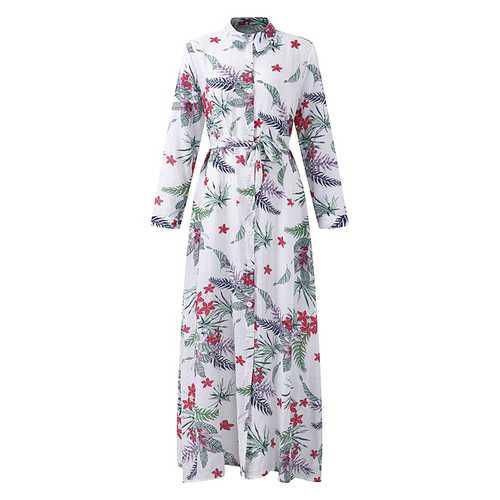 Bohemian Women Printed Long Sleeve Button Down Split Front Dress