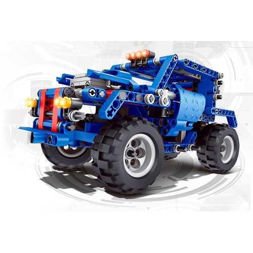 374PC Funny DIY Assembling Pull Back Building Blocks Cars Model Toys For Kids Children Gift