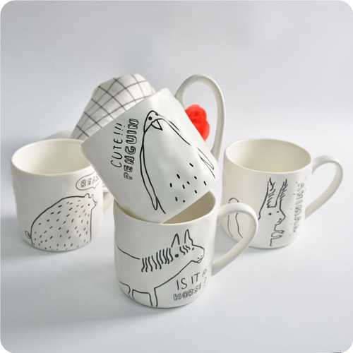 KCASA KC-MUG05 Four Cartoon Animals Ceramic Milk Cup Coffee Mug Tea Glass Tea Cup Tumbler