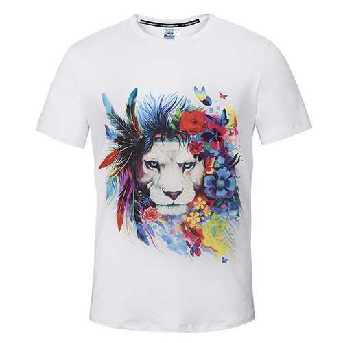Creative 3D Skull Printed O-neck Tees White Funny Cartoon Sexy Short Sleeve T-shirt