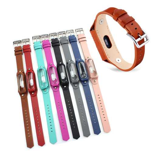 Colorful Leather Replacement Wrist Strap for Xiaomi Miband 2 Wristband