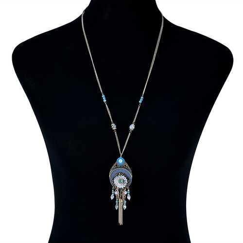 Bohemian Tassel Beaded Long Necklace Crystal Flower Pendant Women's Jewelry